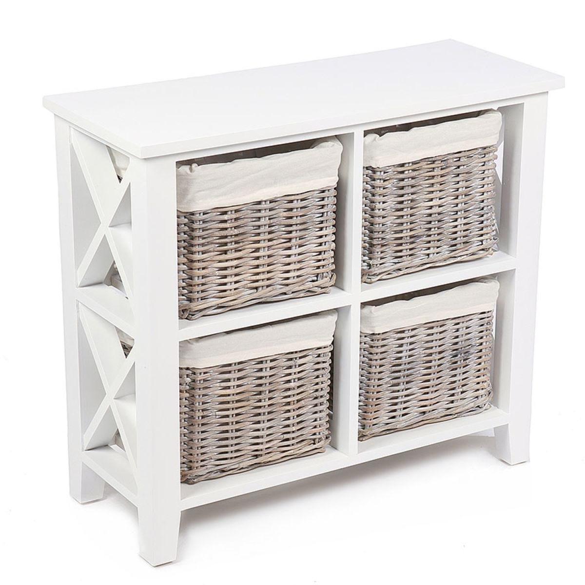 Tocino Ready Assembled X Side 4-Basket Square Wooden Storage Unit  -  White