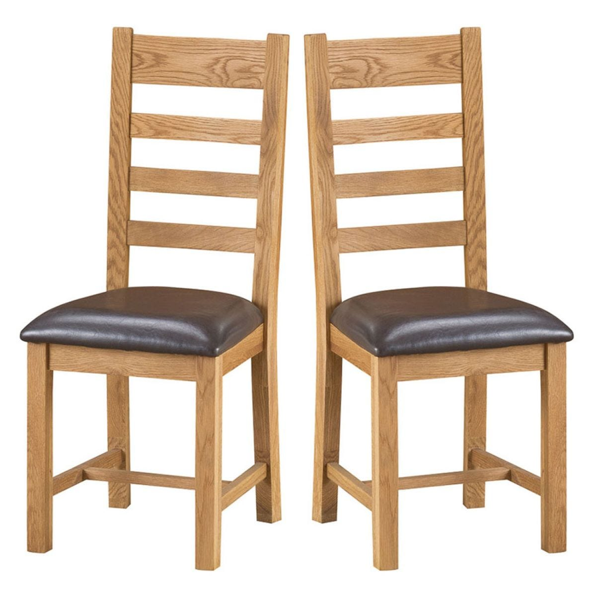 Stockbridge Ready Assembled Pair of Ladder Back Oak Chairs with Padded Seats