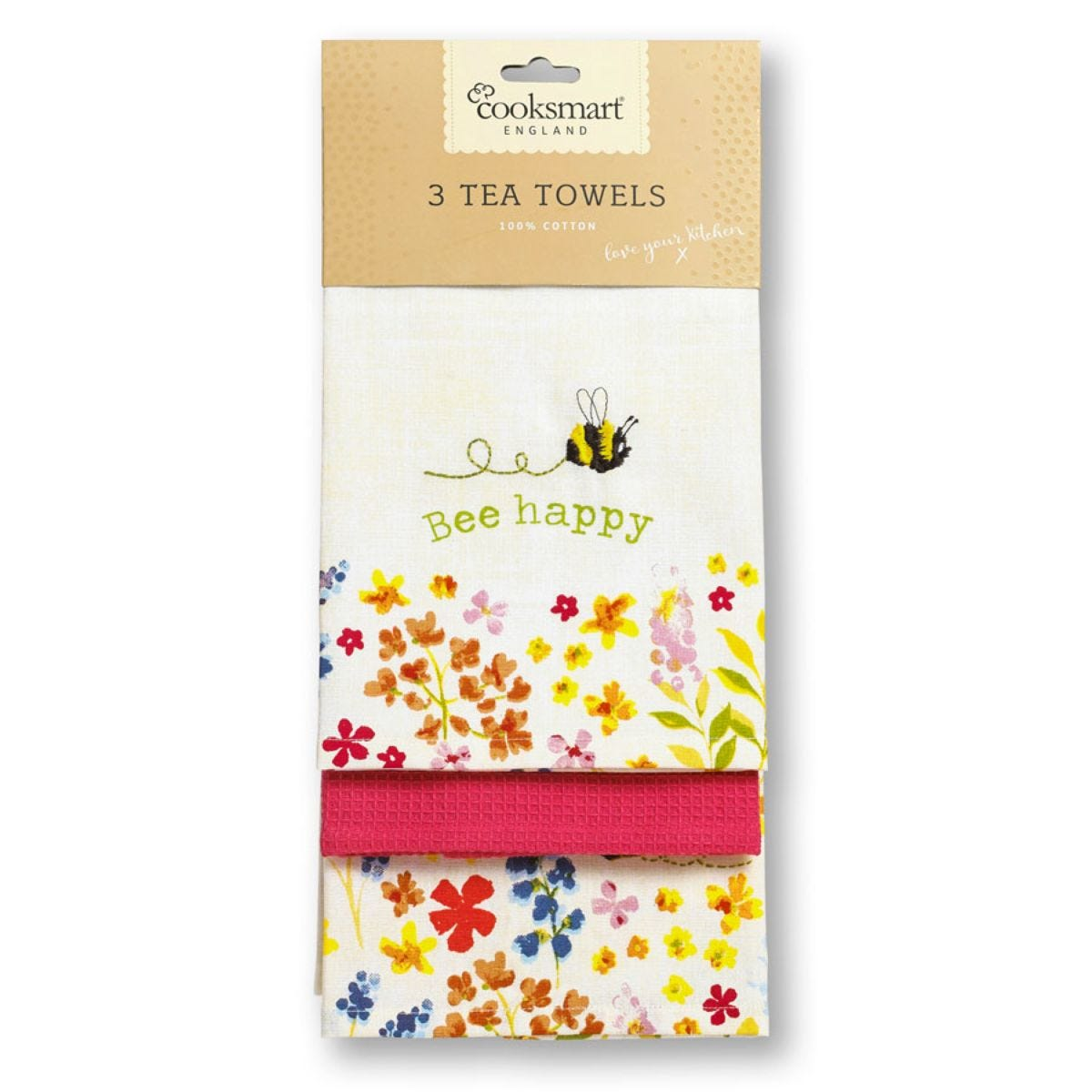 Cooksmart Bee Happy Tea Towels – 3 Pack