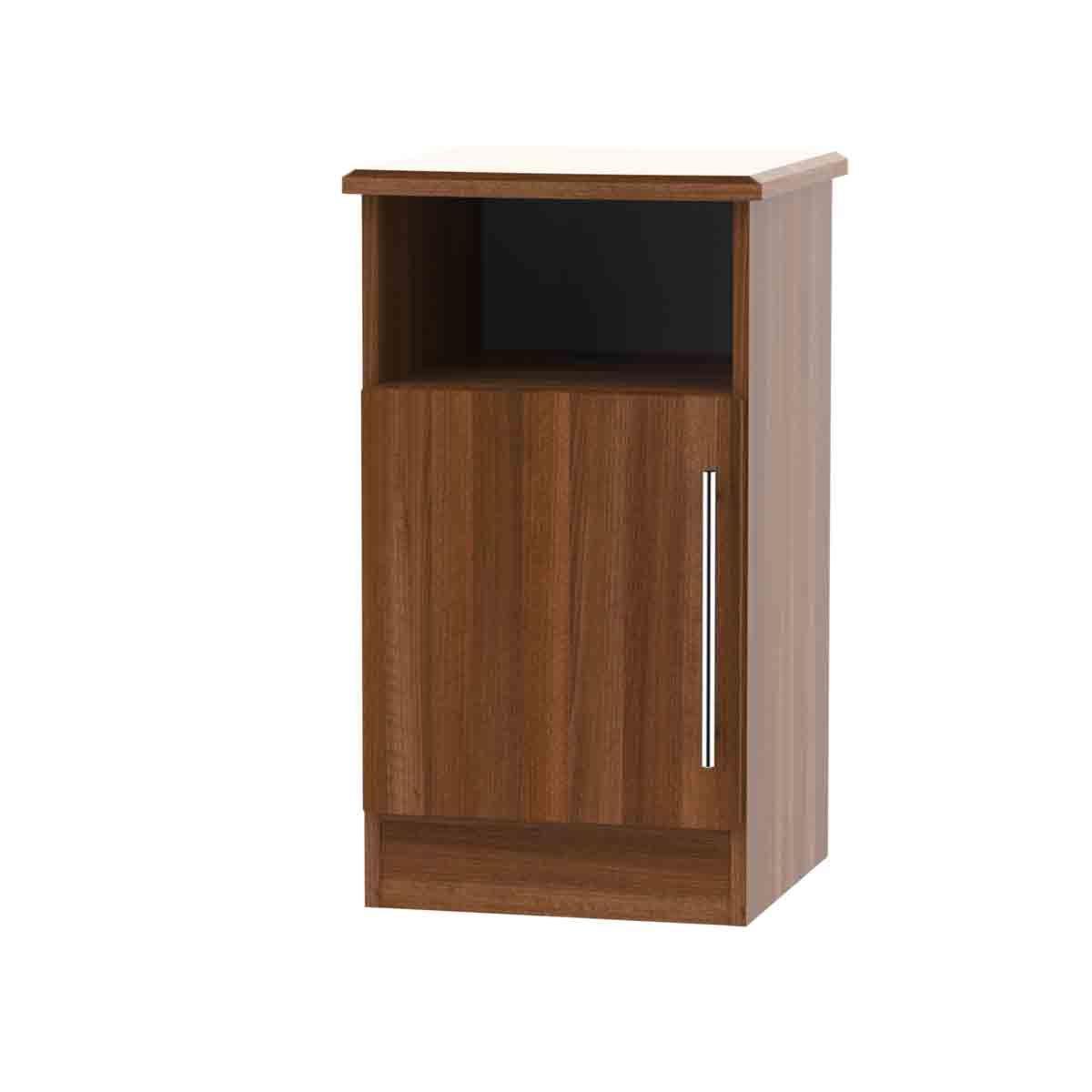 Edina 1-Door Bedside Table - Walnut