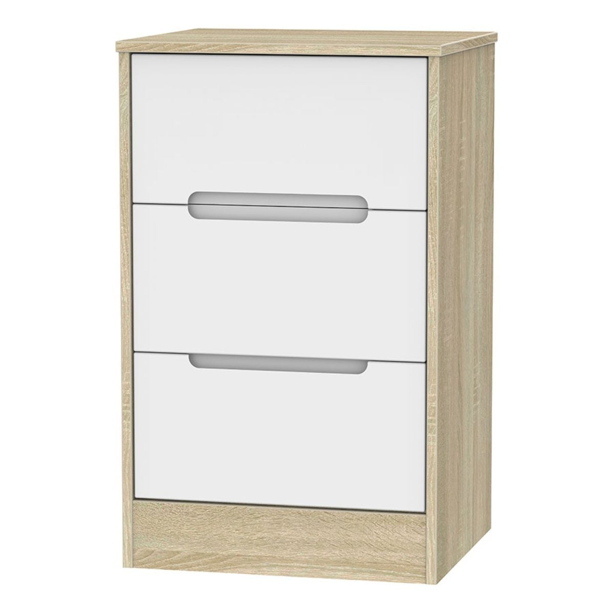 Barquero 3-Drawer Bedside Table - Pine/White Gloss