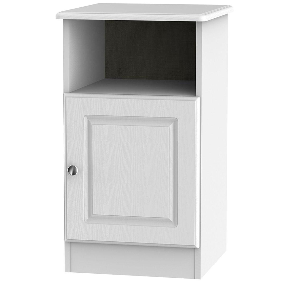 Montego 1-Door Bedside Table - White