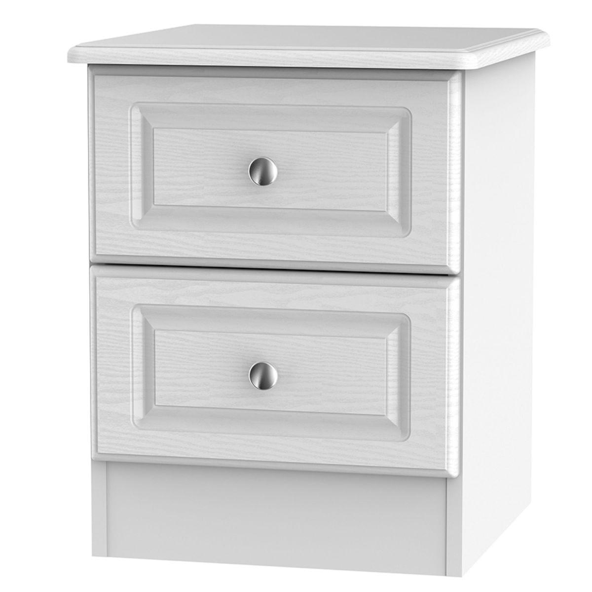 Montego 2-Drawer Bedside Table - White
