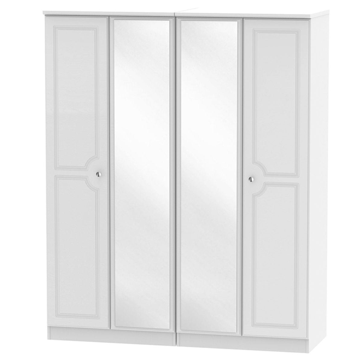 Montego 4-Door Mirrored Wardrobe - White