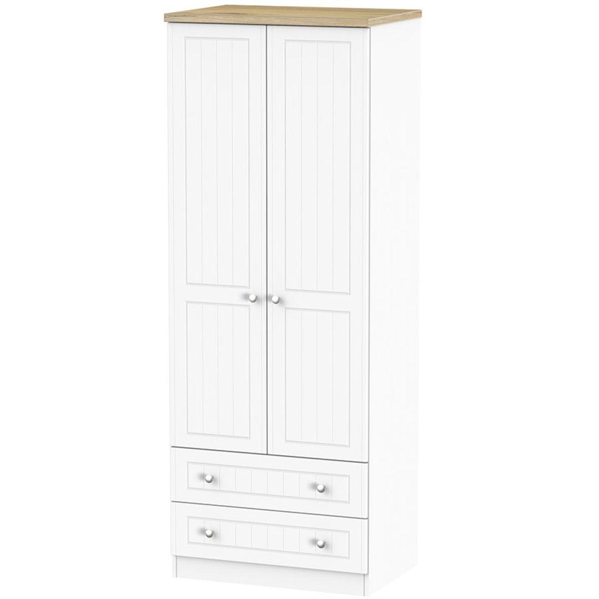 Wilcox 2-Door Wardrobe with Drawers - Porcelain Ash