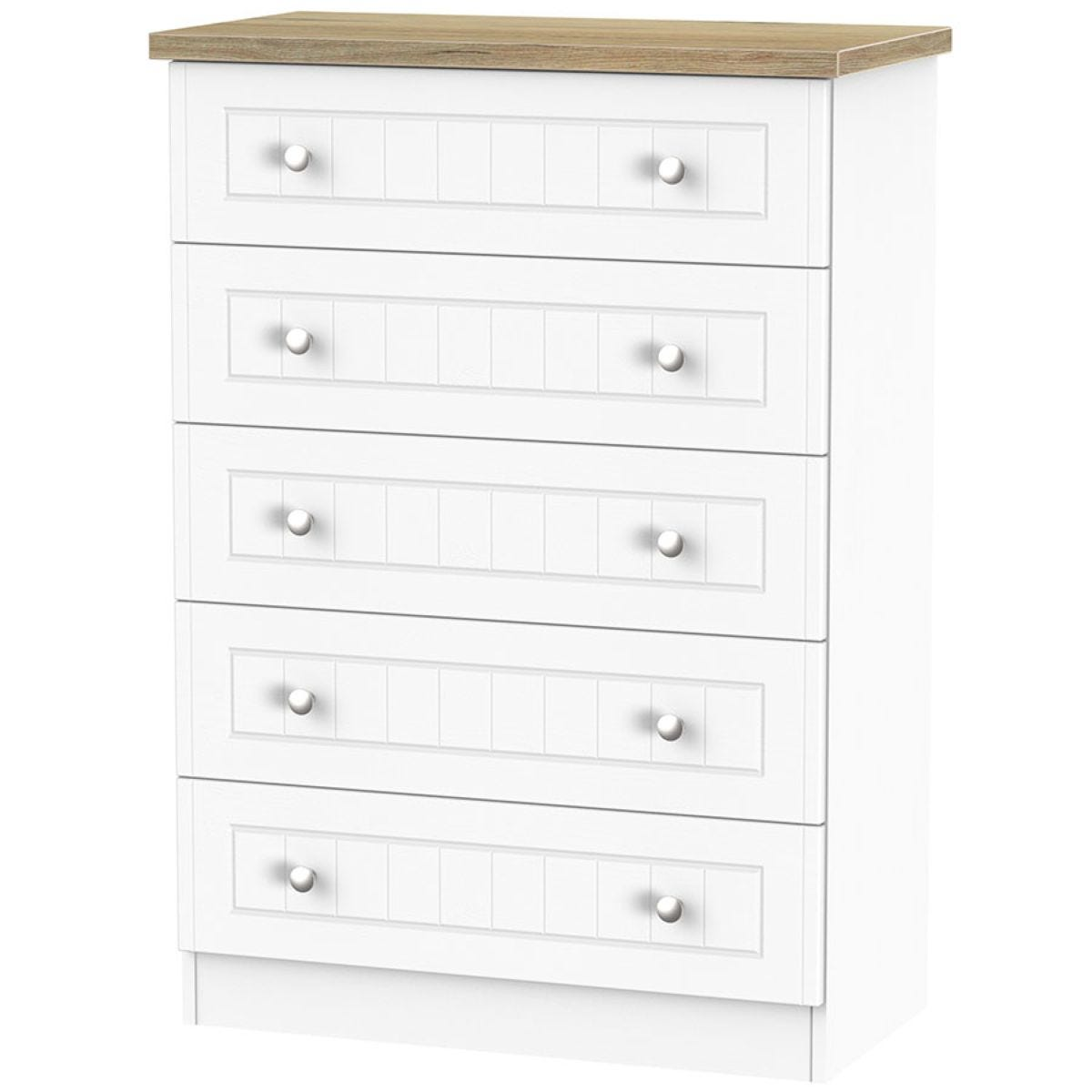 Wilcox 5 Drawer Chest Of Drawers Porcelain Ash Robert Dyas