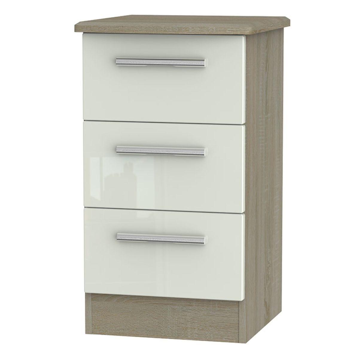 Kirkhill 3-Drawer Bedside Table - Taupe Cedar
