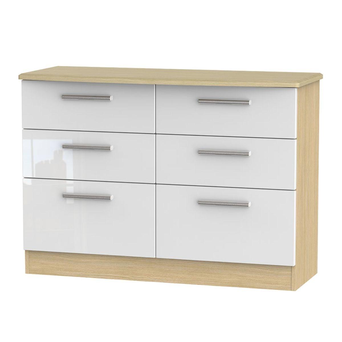 Kirkhill 6-Drawer Midi Chest of Drawers - White Oak