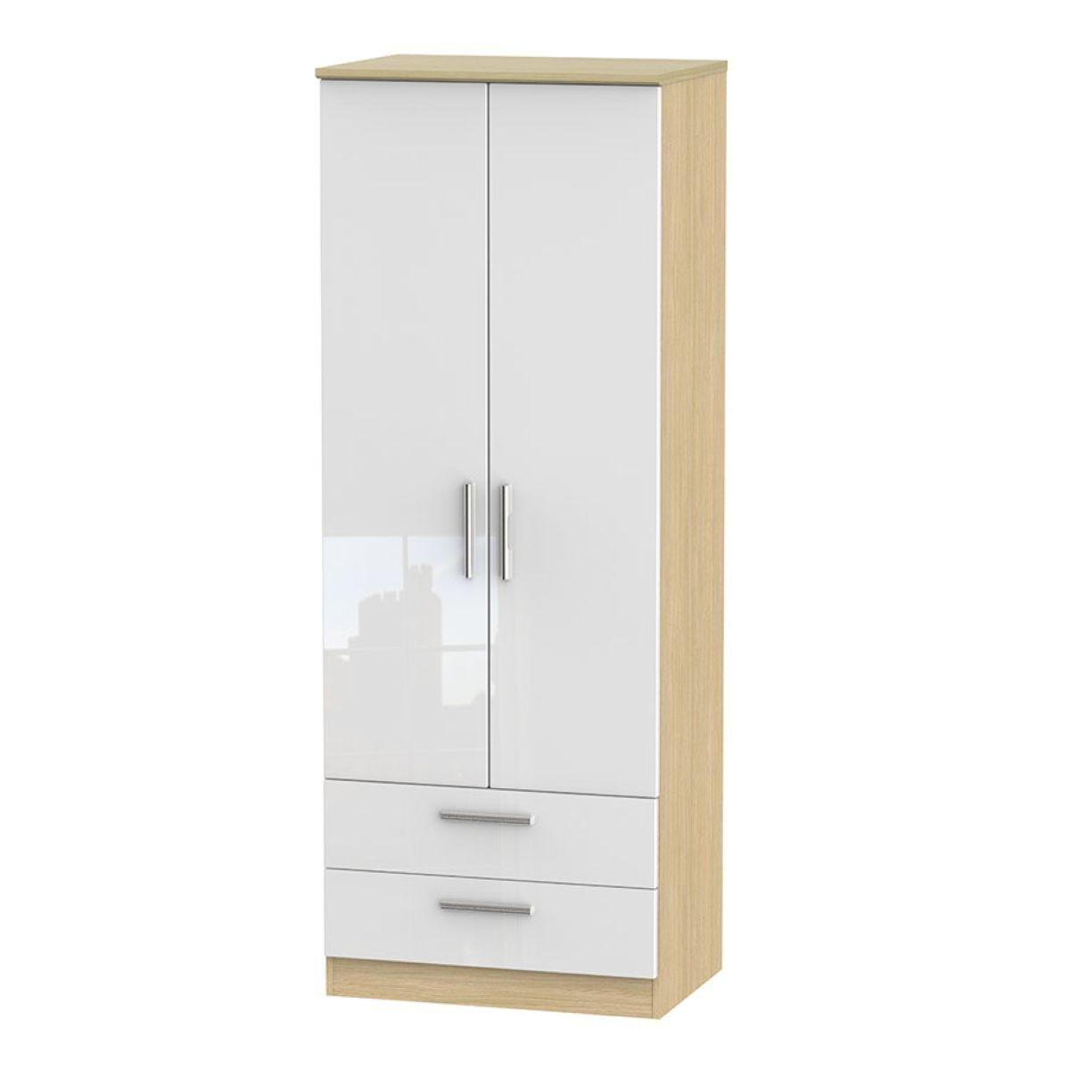 Kirkhill Tall 2-Door Wardrobe with Drawers -White Oak
