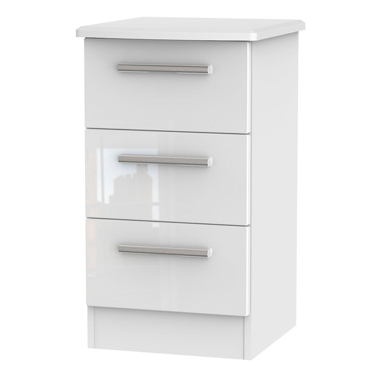 Fourisse 3-Drawer Bedside Table - White