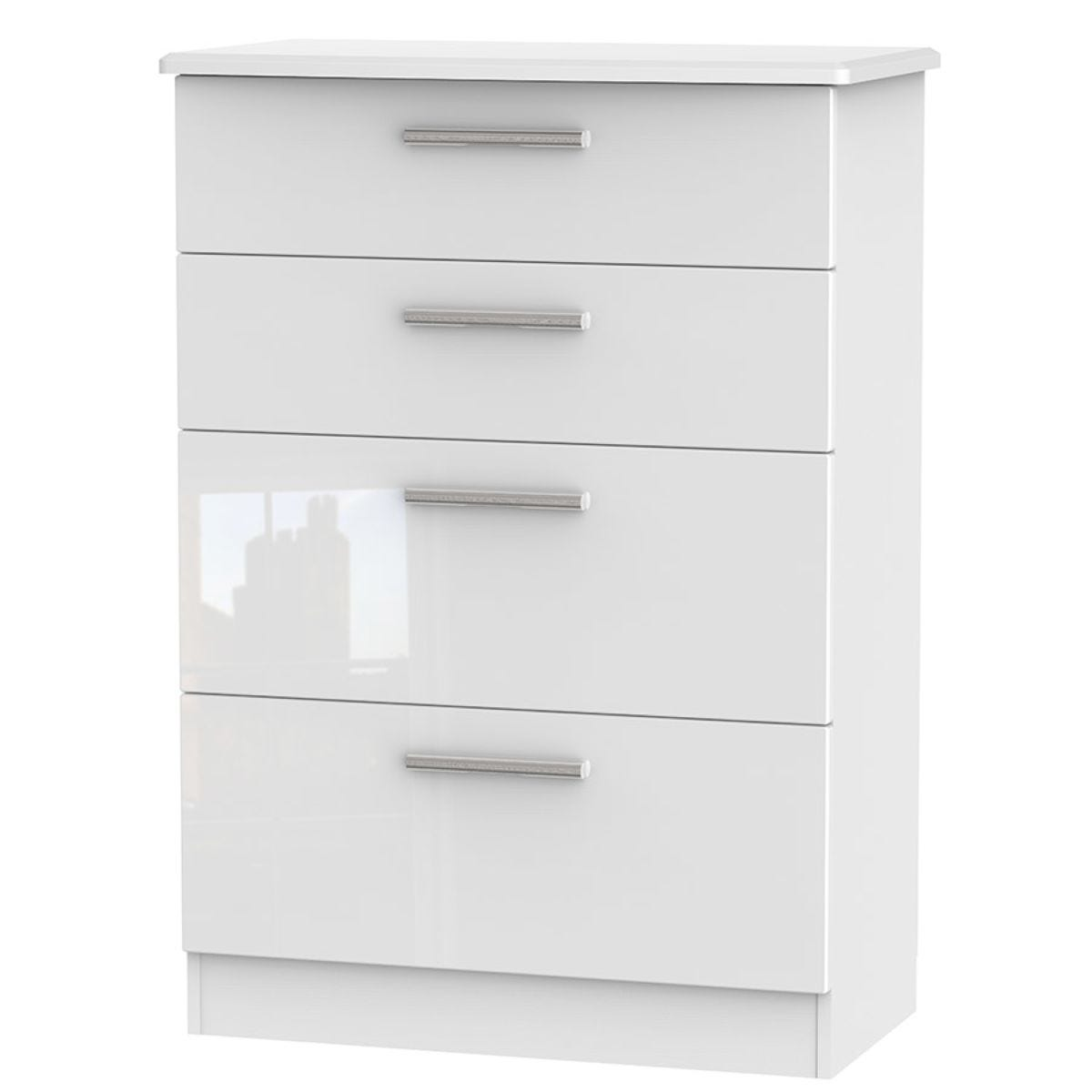 Fourisse 4-Drawer Deep Chest of Drawers - White