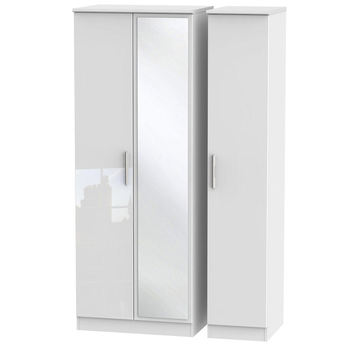 Fourisse Tall 3-Door Mirrored Wardrobe -White