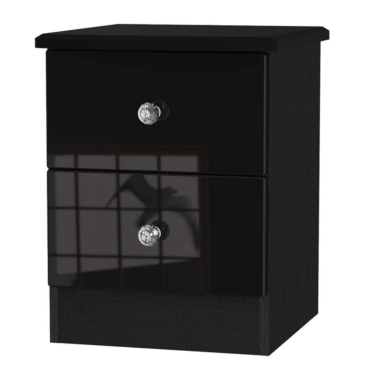 Tedesca 2-Drawer Bedside Table - Black