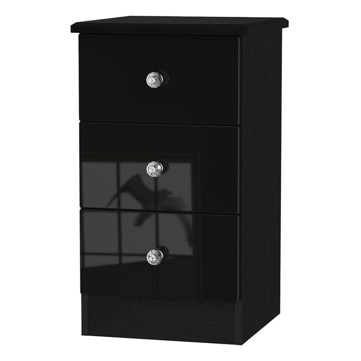 Tedesca 3-Drawer Bedside Table - Black