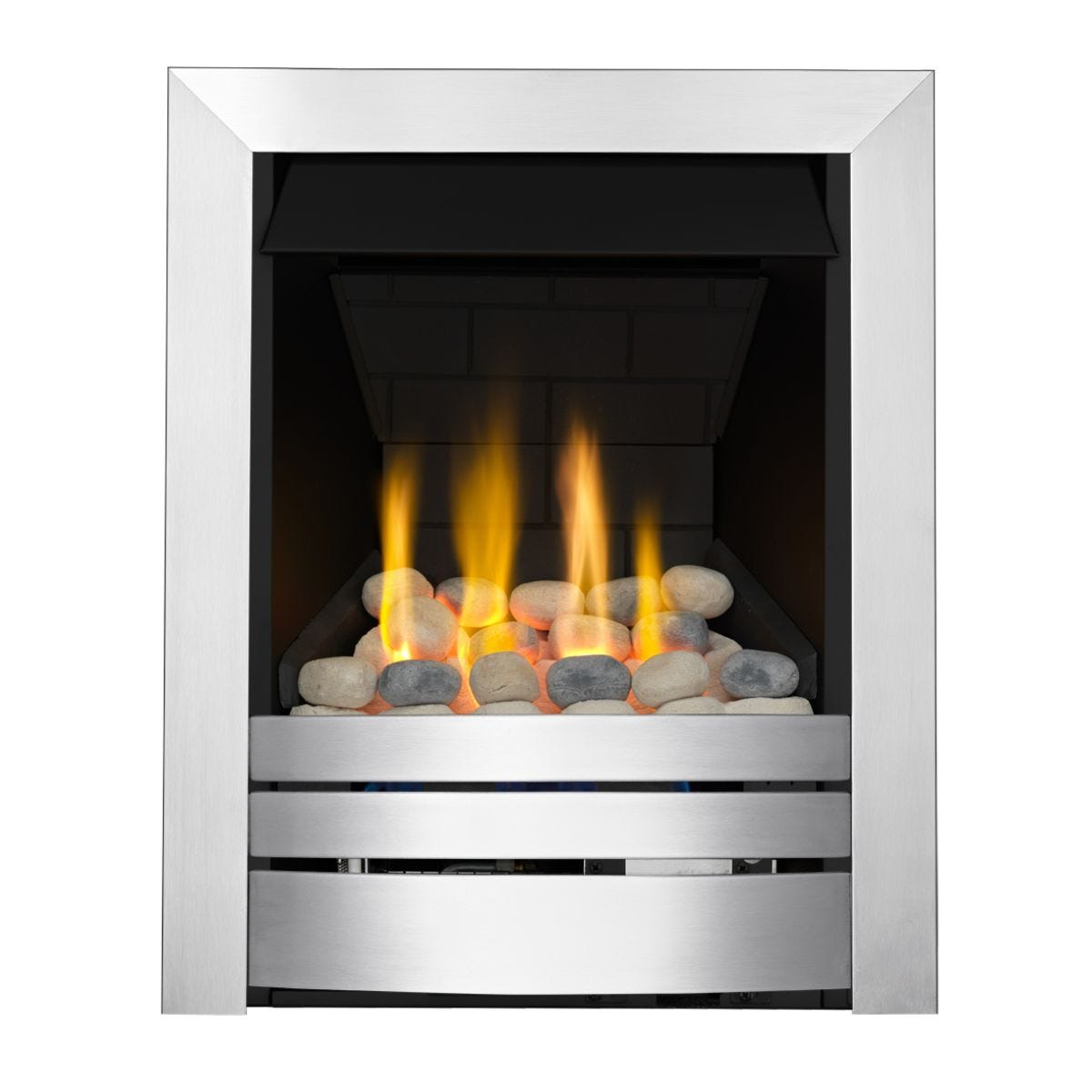Focal Point Fires Lorient Brushed Steel Slimline Radiant Gas Fire - Chrome