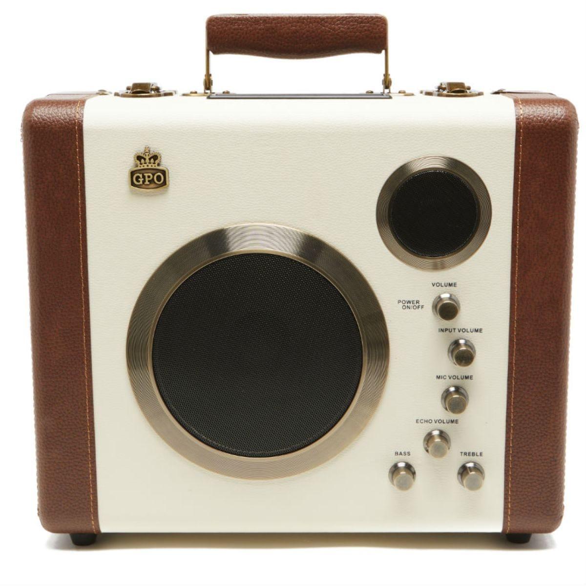 GPO Retro Manga Bluetooth Speaker & Amplifier System - Cream / Tan