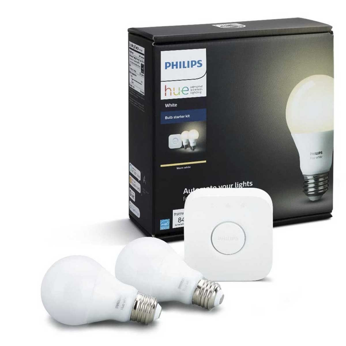 Philips Hue Smart WiFi Dimmable Warm White LED Edison Screw (ES) 60W Twin Light Bulb with Philips Hue Bridge