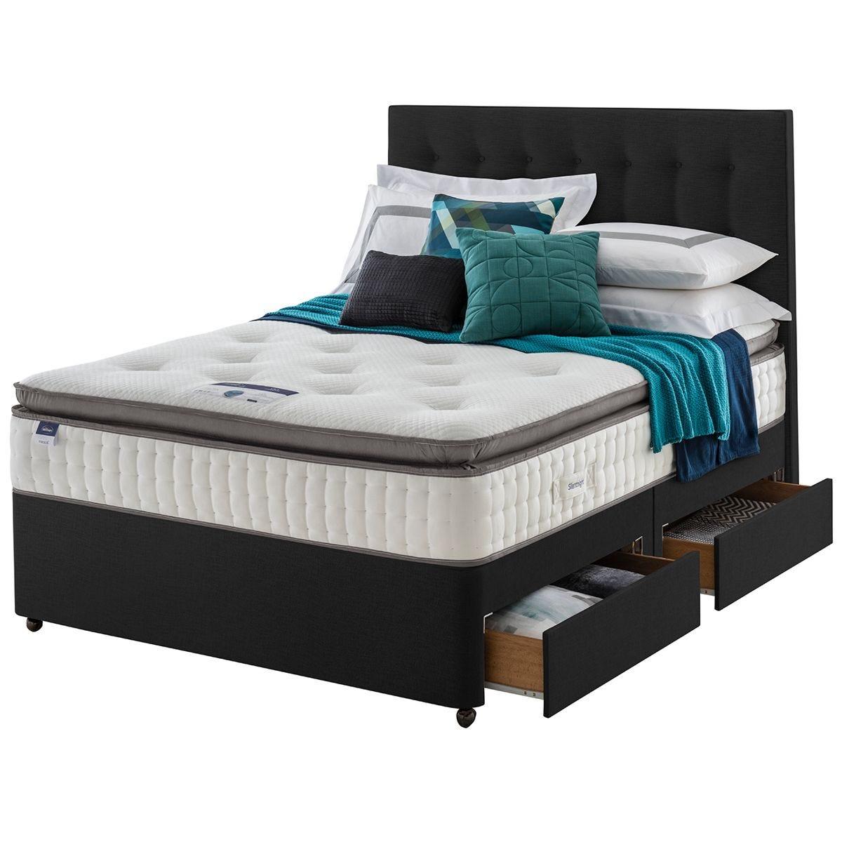 Silentnight Miracoil Geltex 4 Drawer Divan Bed - Ebony