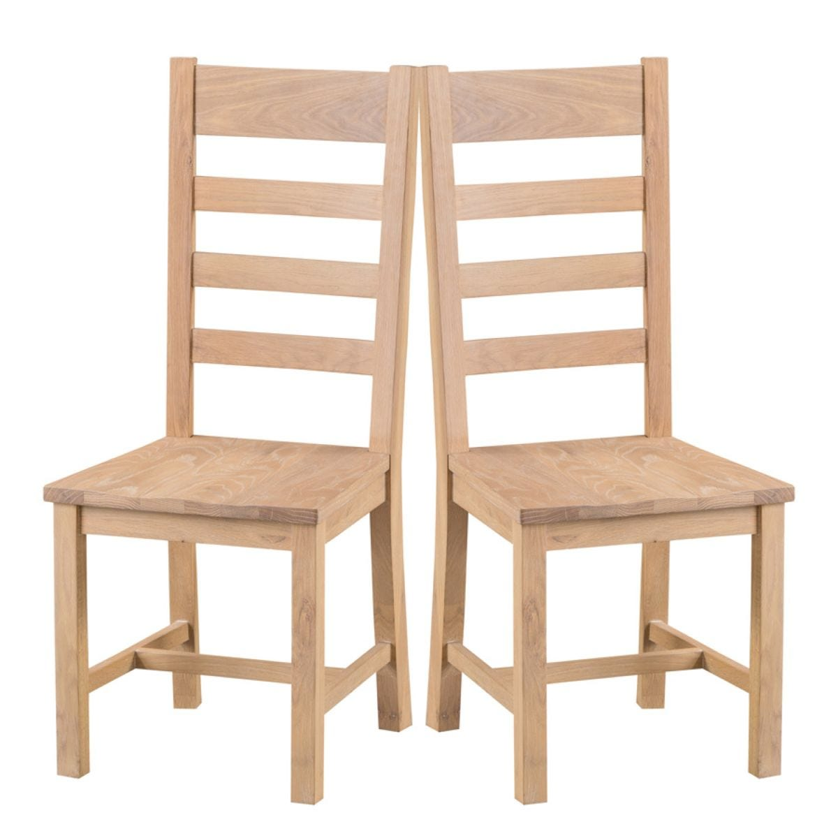 Wisborough Ready Assembled Pair of Ladder Back Oak Chairs