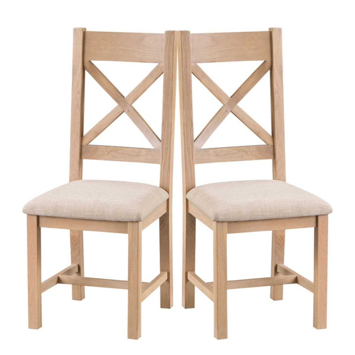Wisborough Ready Assembled Pair of Cross Back Oak Chairs with Padded Seats