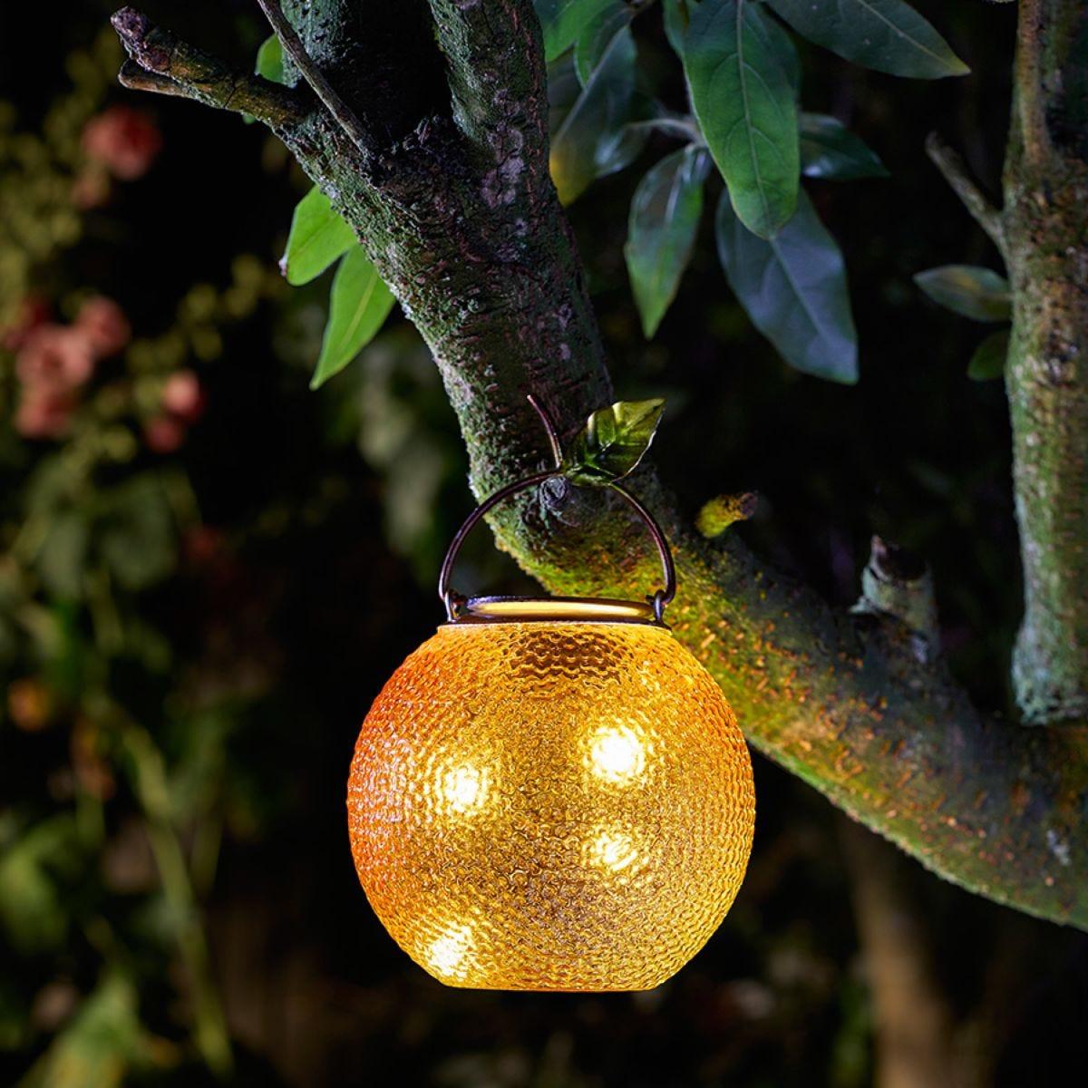 Smart Solar Funky Glass Orange Lantern