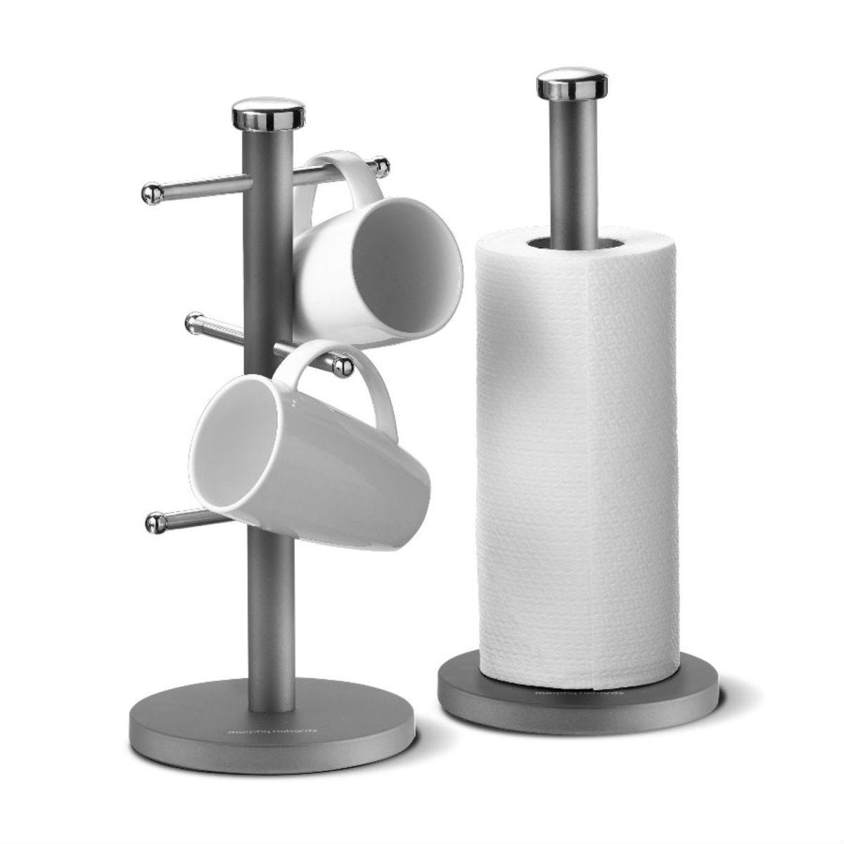 Morphy Richards Accents Mug Tree and Kitchen Roll Holder - Titanium