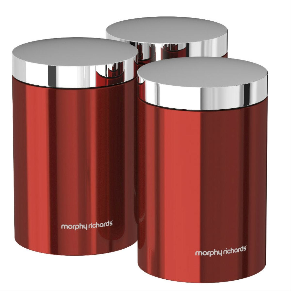 Morphy Richards Accents Set of 3 Storage Canisters - Red