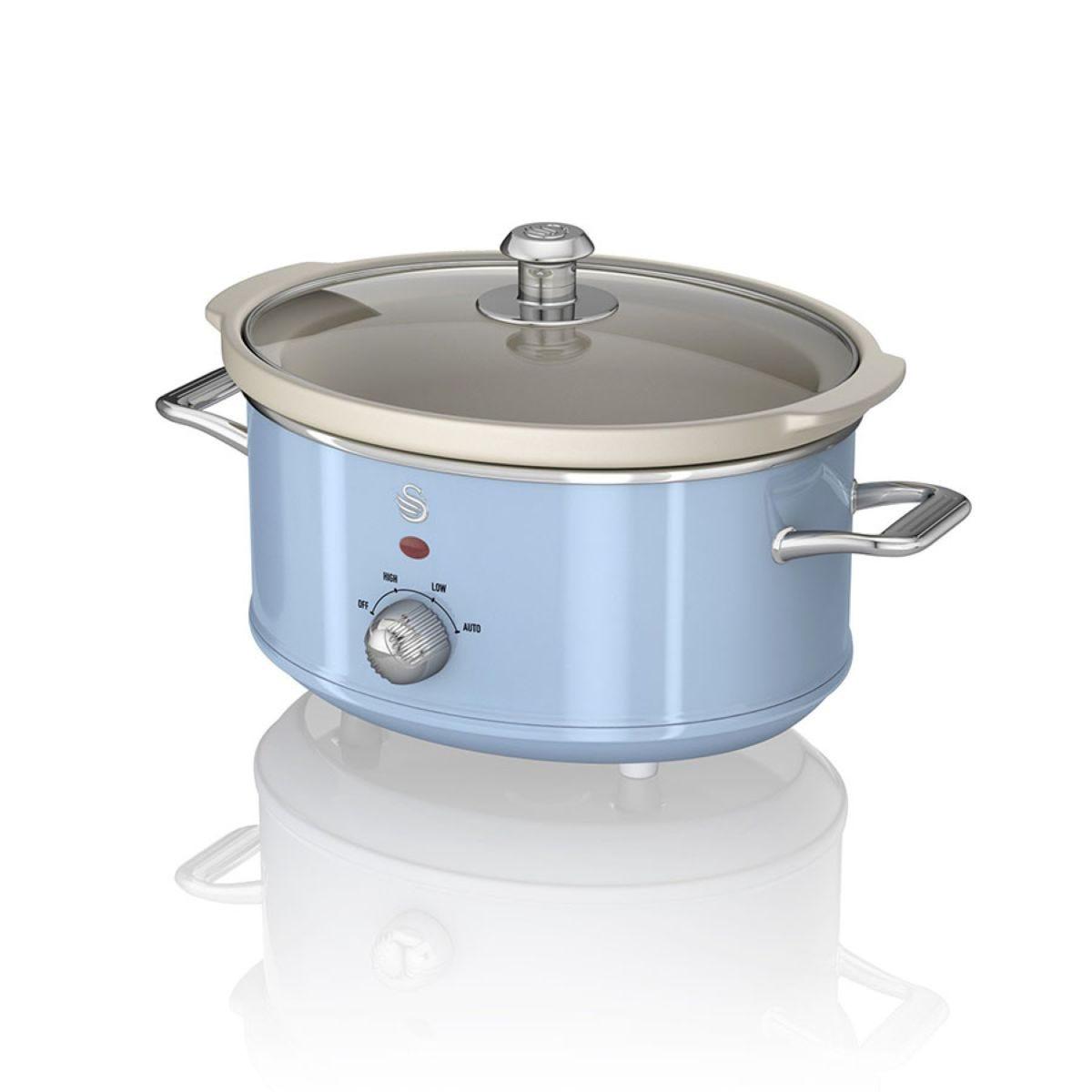 Swan SF17021BLN 3.5L Retro Slow Cooker - Blue
