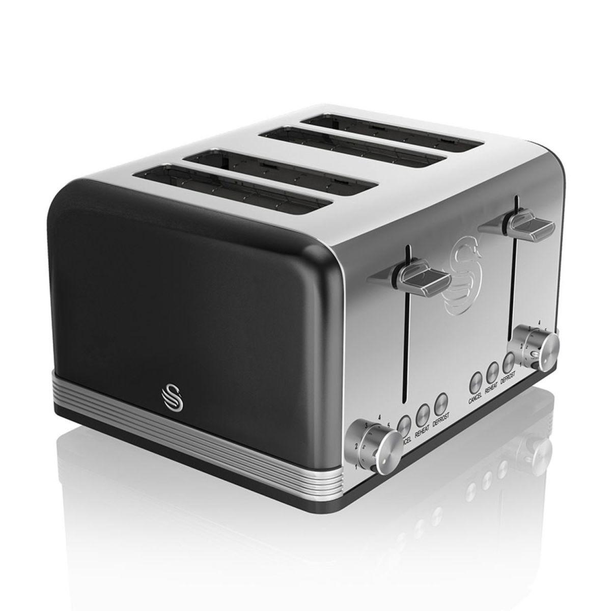 Swan ST19020BN 4-Slice Retro Toaster - Black