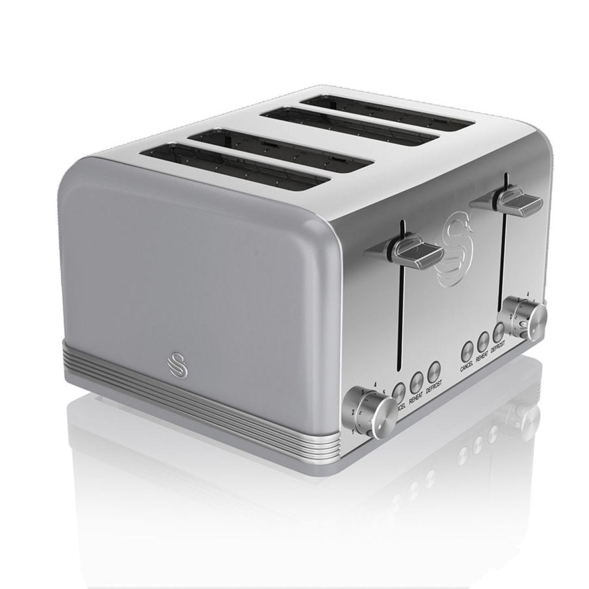 Swan ST19020GRN 4-Slice Retro Toaster - Grey
