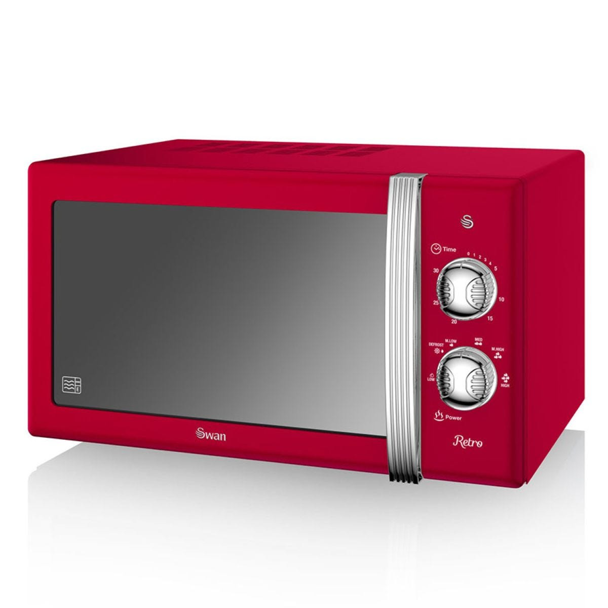 Swan Retro SM22130RN 800W 20L Solo Manual Microwave - Red
