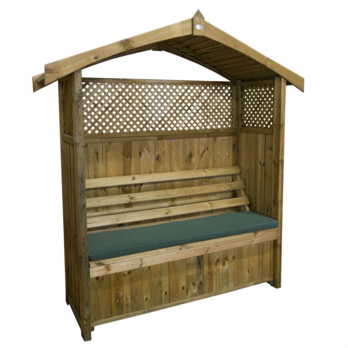 Zest4Leisure Hampshire Wooden Arbour with Storage Box & Green Seat Cushion