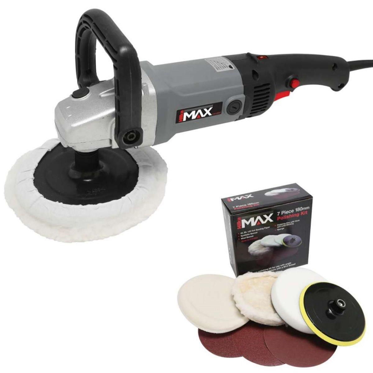 Hilka 180mm Sander, Polisher and 7-Piece Polishing Kit