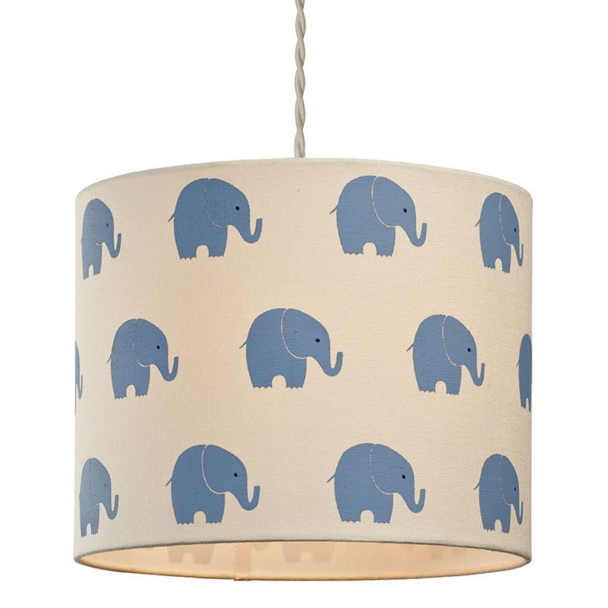 Village At Home Horton Elephant Cylinder Light Shade - Blue