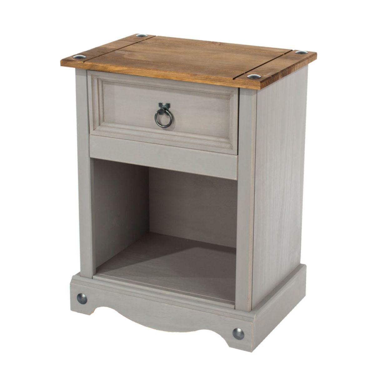 Halea Pine 1-Drawer Bedside Cabinet - Grey