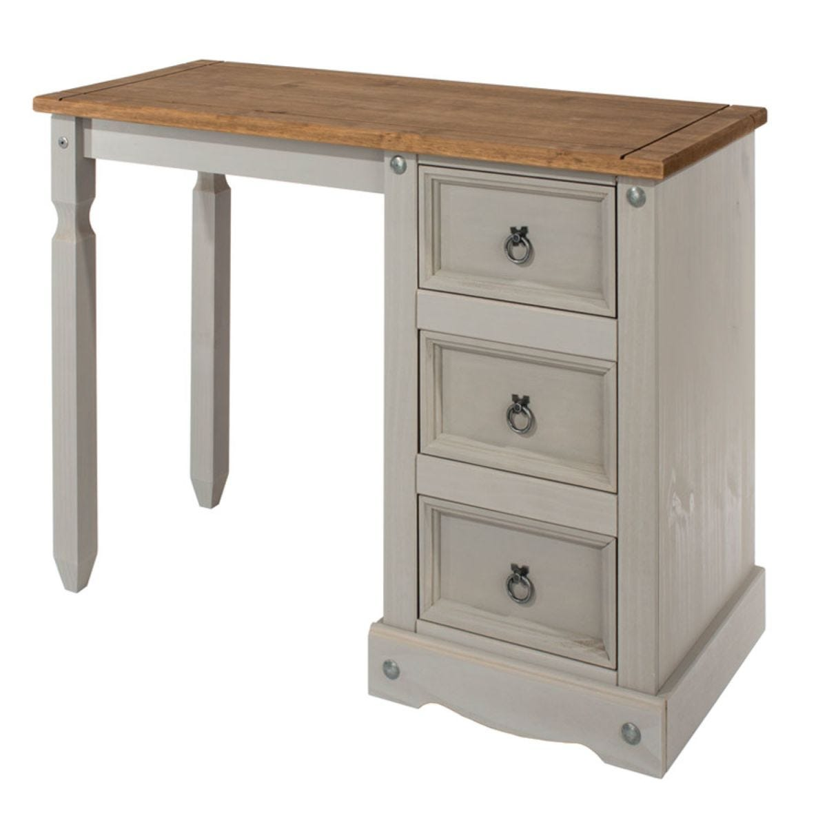 Halea 3-Drawer Pine Dressing Table - Grey