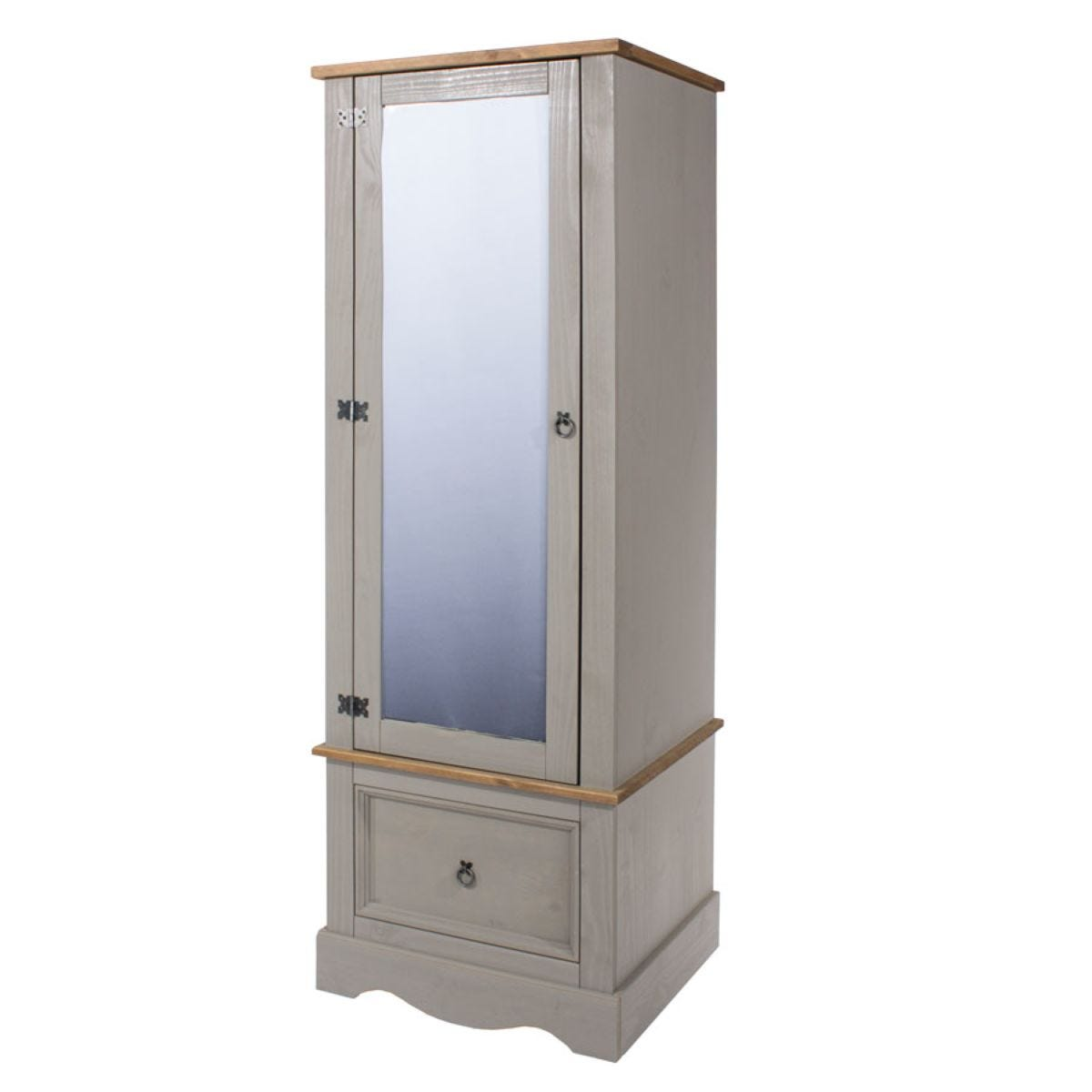 Halea Armoire with Mirror - Grey