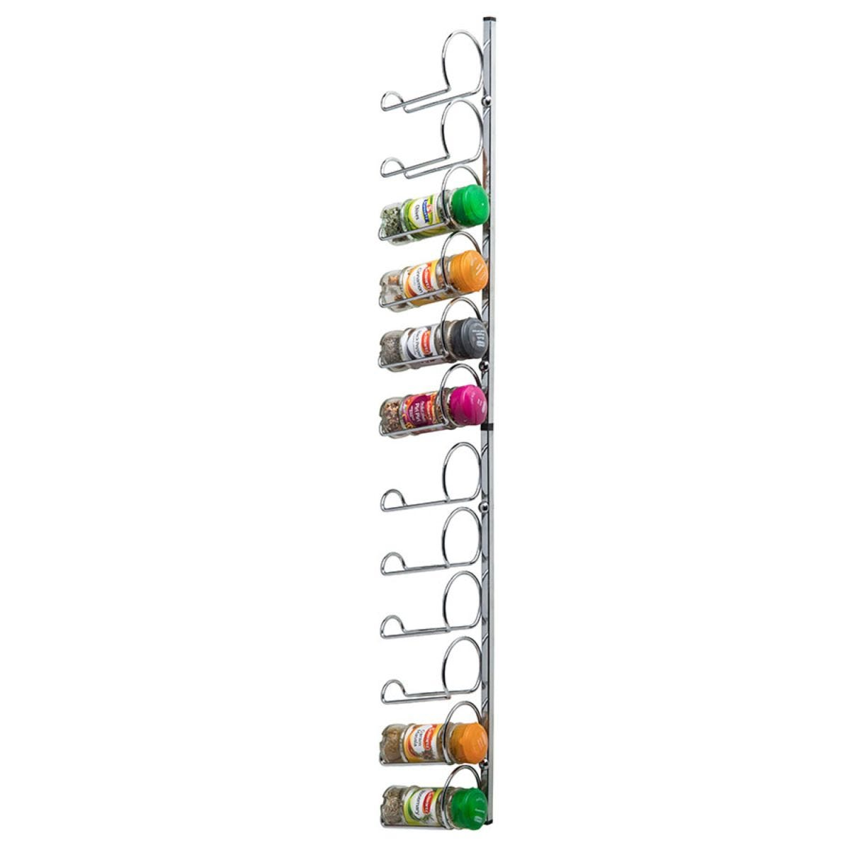 Hahn Pisa 12 Jar Wall / Cupboard Spice Rack - Chrome