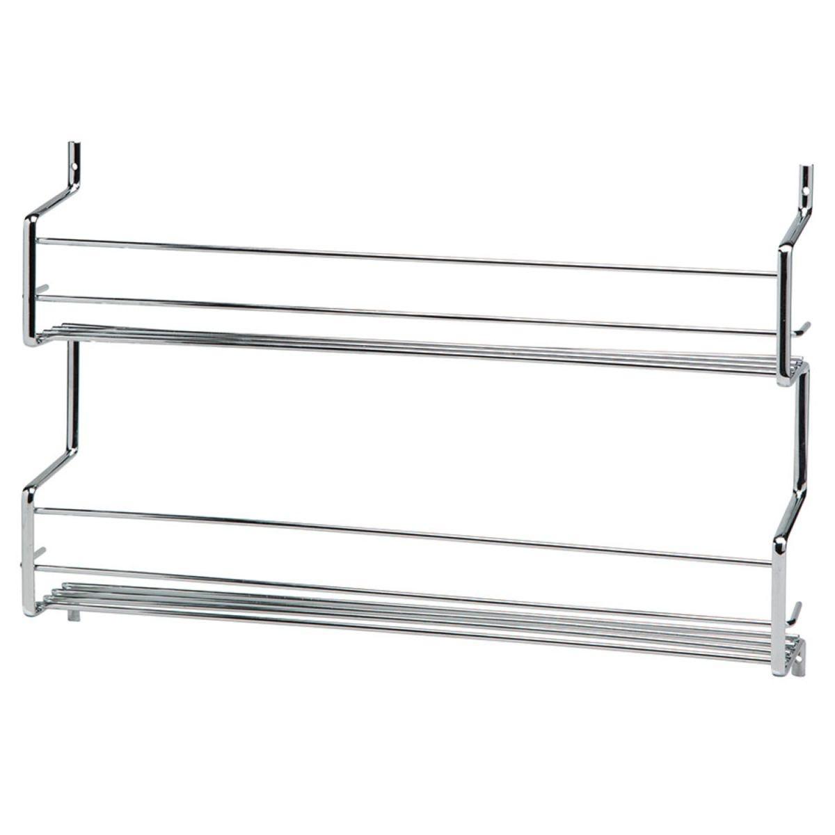 Hahn Metal Wall / Cupboard 2 Tier Spice Rack - Chrome
