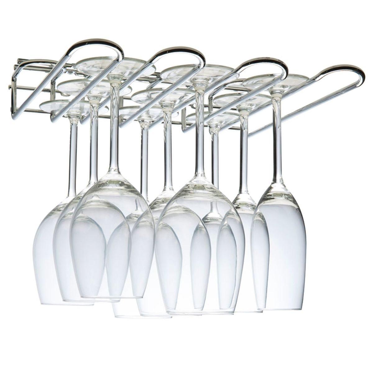 Hahn Metal Wall / Under-Cupboard 3 Row Glass Stem Rack - Chrome
