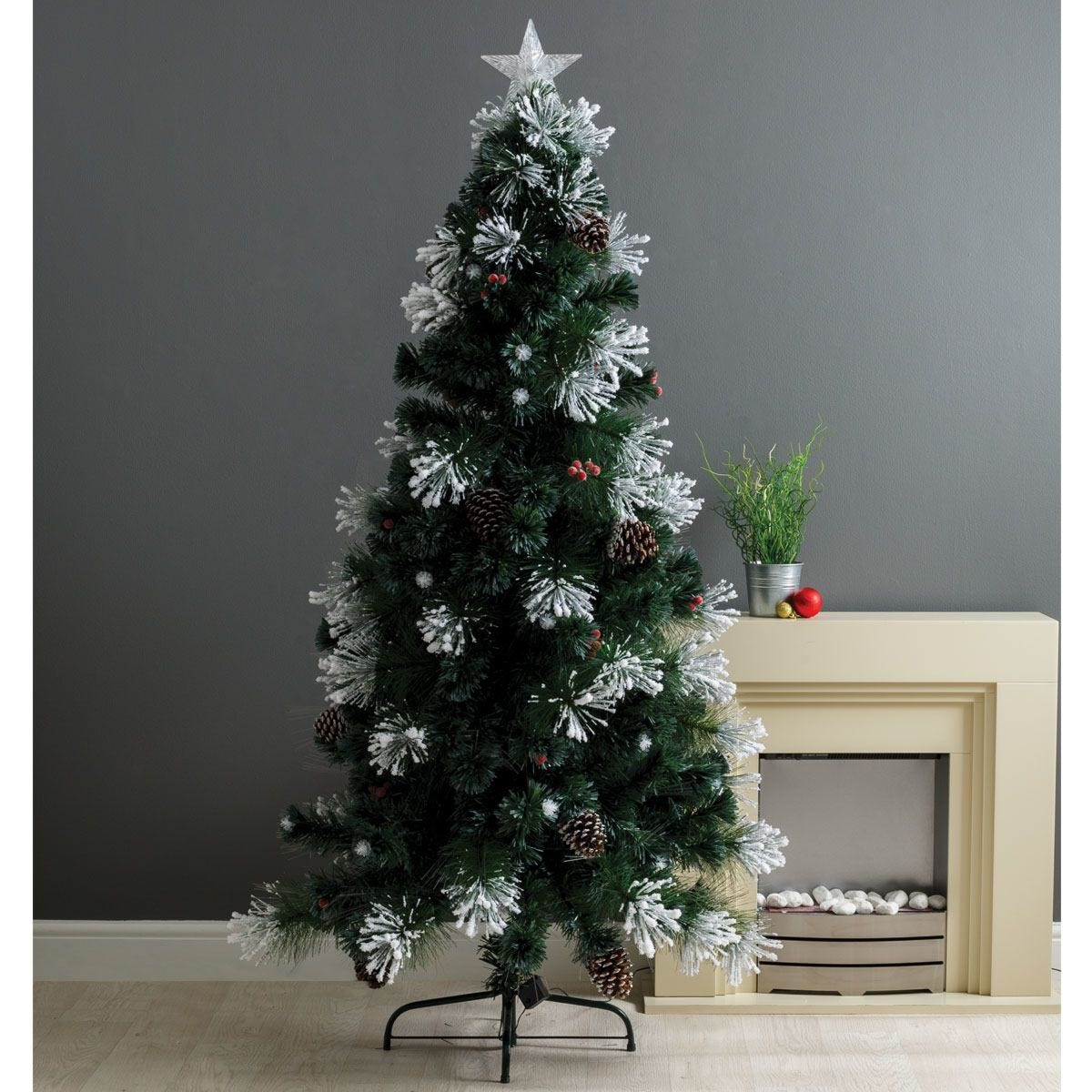Robert Dyas Kensington Frosted Berries and Cones Fibre Optic Tree - 6ft