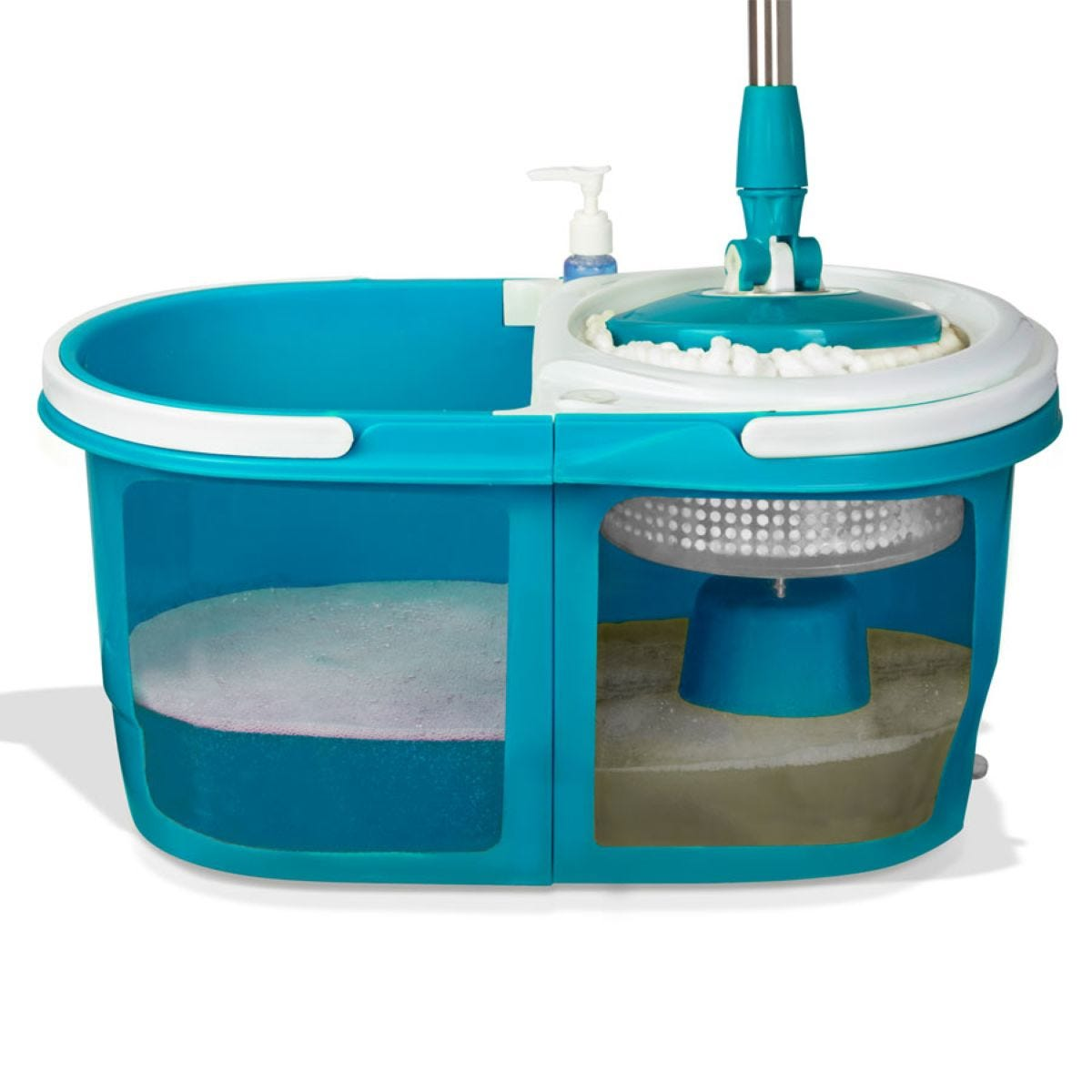 Dual Spin Mop with Bucket Set - Turquoise Blue