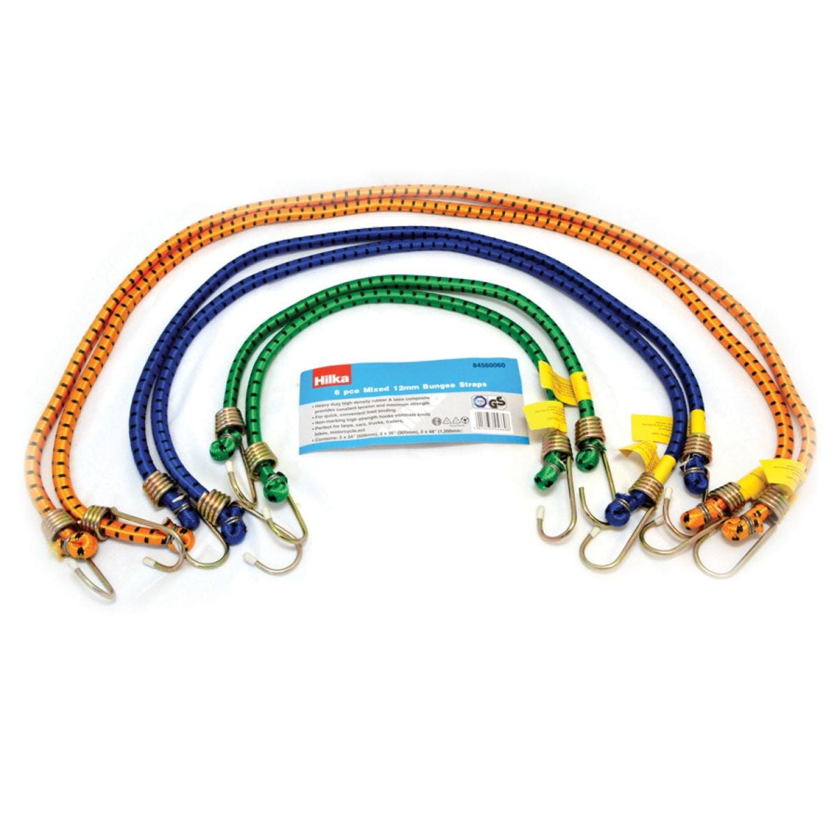Hilka Mixed Bungee Straps - 6pc