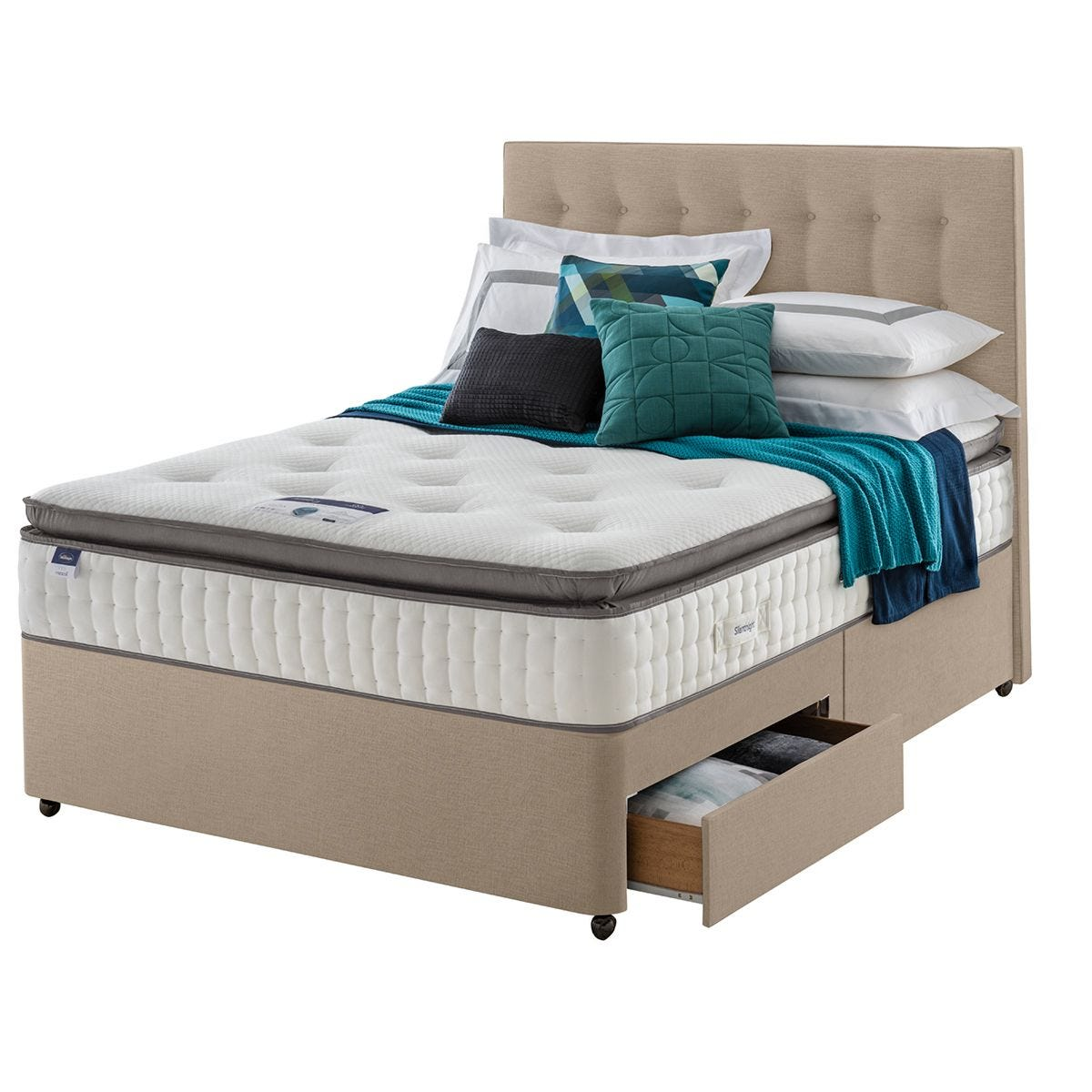 Silentnight Miracoil Geltex 2 Drawer Divan Bed - Sandstone