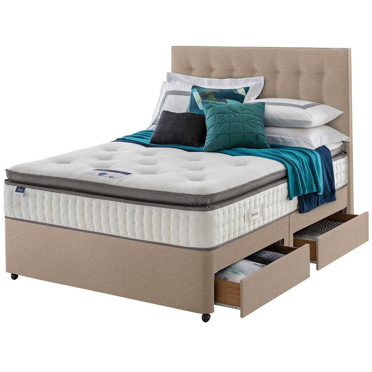 Silentnight Miracoil Geltex 135cm 4 Drawer Divan Bed Set - Sandstone
