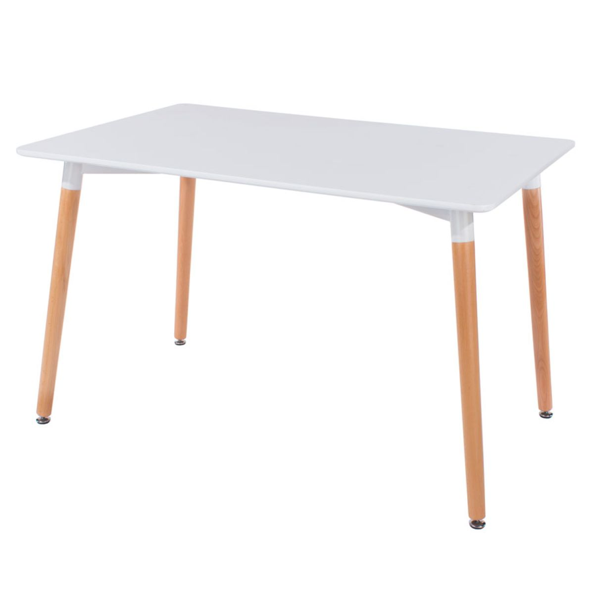 Roloku Rectangular Dining Table with Wooden Legs - White