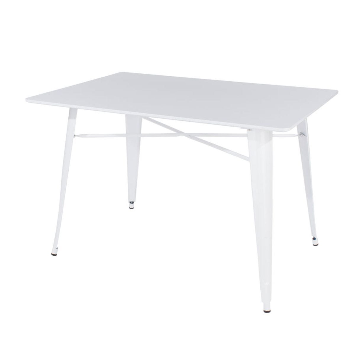 Roloku Large Rectangular Plastic Table with Metal Legs - White