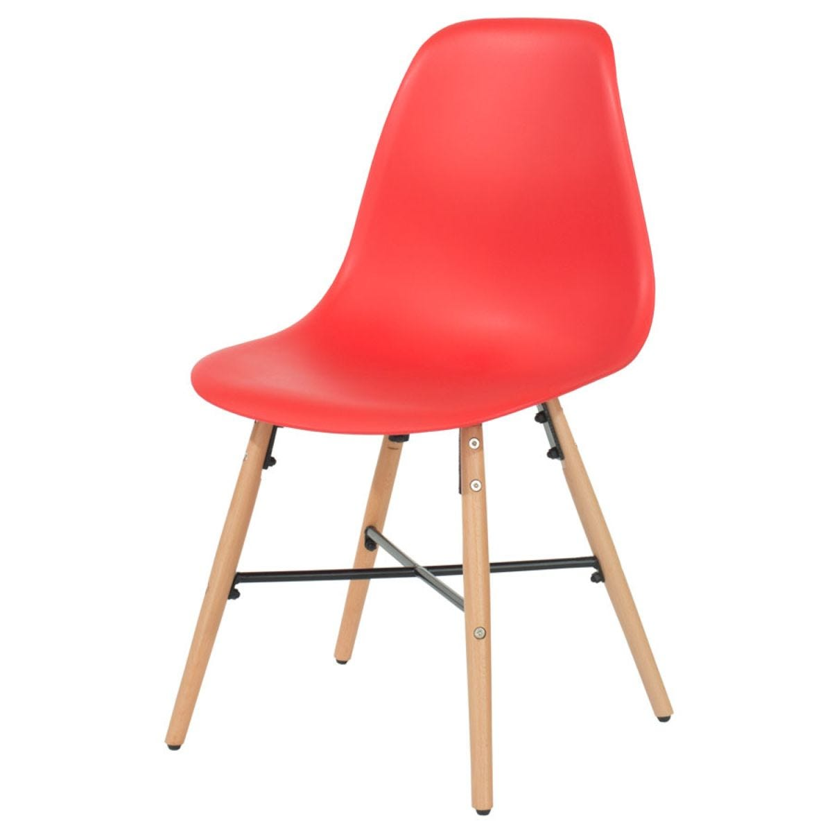 Roloku Pair of Chairs with Metal Cross Rails - Red
