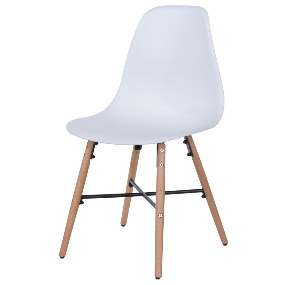Roloku Pair of Chairs with Metal Cross Rails - White