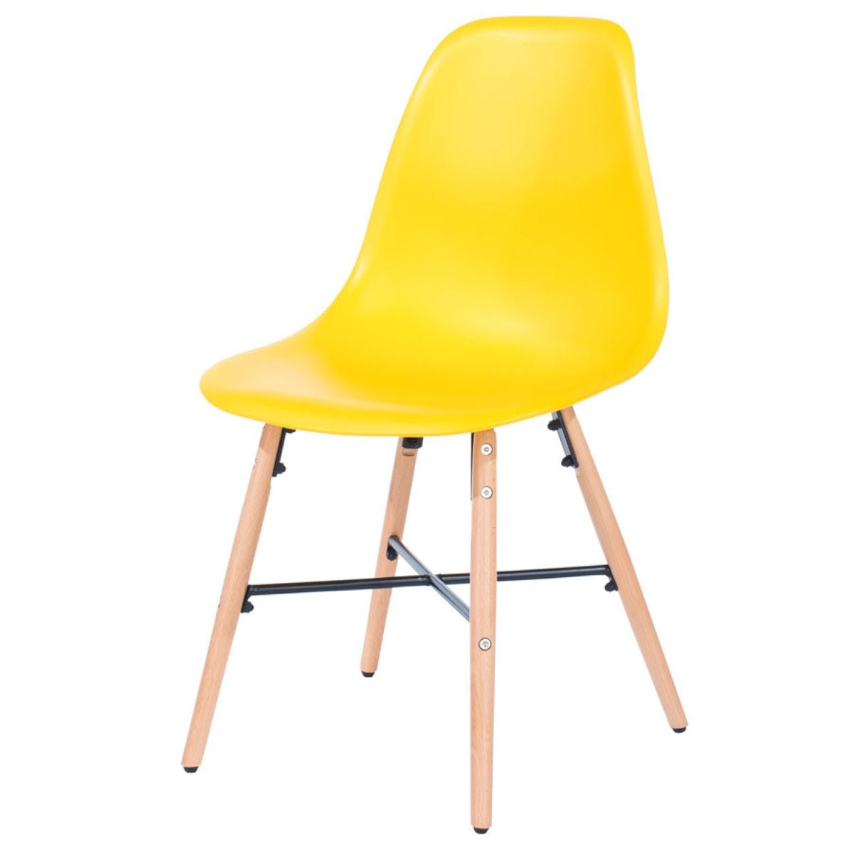 Roloku Pair of Chairs with Metal Cross Rails - Yellow